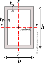 Rectangle tube with centroidal axes x and y